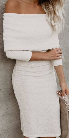 #winter #outfits white shoulderless pencil dress