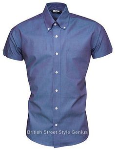 2dd469129 Relco Short Sleeve TONIC Shirt - BLUE 60s Button Down Mod Skin | Casual  Shirts & Tops | Men's Clothing
