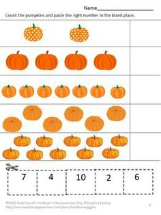 Counting Fun With Pumpkins Cut and Paste P-K,K,Special Education, Autism  Strong counting skills will help students progress to a strong math foundation. This in turn benefits them as they advance through the grades. Practicing their counting skills with this Counting Fun With Pumpkins Cut and Paste worksheet packet will make it fun. It consists of 14 worksheets as follows; Match the numbers Count the jack-o-lanterns Count the pumpkins Add the Pumpkins Subtract the Pumpkins Pumpkins on the v...