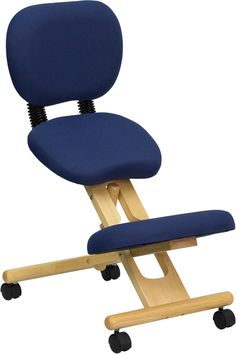 Mobile Wooden Ergonomic Kneeling Posture Chair in Navy Blue Fabric with Reclining Back | manhattanhomedesign.com