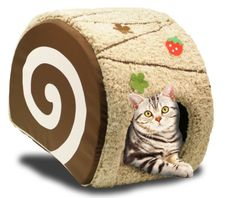 Handmade Swirl Cake Cat Bed Condo -  removeable pad for cleaning and zipper: chocolate
