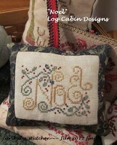 Noel Cross Stitch Ornament with free chart.