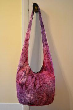 Batik Hobo Bag Pleated Pink Rose Burgundy Sling Bag by 2LeftHandz, $25.00