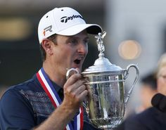 England's Justin Rose holds the U.S. Open Trophy after winning the 2013 U.S. Open golf championship at the Merion Golf Club in Ardmore, Pennsylvania, June 16, 2013. REUTERS/Matt Sullivan