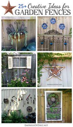 25+ Creative Ideas For Garden Fences -------- decorate the area outside the dining room window with plants and ornamental junk