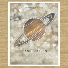 Saturn the Ringed Planet  Heavenly Bodies by wellsillustration, $18.00