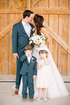 Silver & Lace vintage barn wedding.  photo by The Tarnos.  Bride and Groom cuteness.