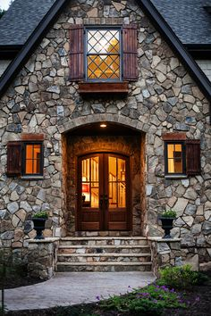 Grey Stone House, Stone Cabin, Stone Front House, House Front, Stone Exterior Houses, Old Stone Houses, Stone House Exteriors, Stone Cottages, Cabins And Cottages
