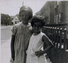 Anne Frank with a friend, circa 1935.