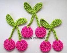Crochet patches – Cherries Cherry Crochet Applique Handcraft – a unique product by Blumenland on DaWanda Gilet Crochet, Crochet Motifs, Crochet Stitches, Knit Crochet, Crochet Patterns, Crochet Appliques, Crochet Fruit, Love Crochet, Crochet Flowers