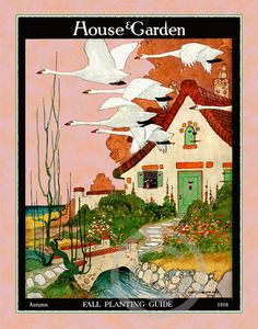 Whimsical Deco House and Garden Cobblestone Storybook Cottage Fall Planting Geese flying over house  1916 cover 11x14 Giclee Fine Art Print