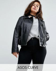 Buy it now. ASOS CURVE Ultimate Leather Biker Jacket With Quilting Detail - Black. Plus-size jacket by ASOS CURVE, Leather fabric, Fully lined, Notch lapels, Asymmetric zip fastening, Functional pockets, Zipped cuffs, Regular fit - true to size, Specialist leather clean, 100% Real Leather, Our model wears a UK 18/EU 46/US 14. ABOUT ASOS CURVE Say goodbye to awkward-fitting plus-size fashion with our ASOS CURVE collection. Giving shout-outs to denim, occasionwear and jumpsuits, our…