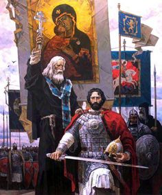 A Byzantine general with an Orthodox priest before the battle