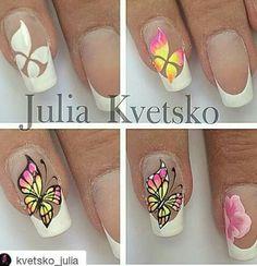Ref Flower Nail Designs, Nail Art Designs, Butterfly Nail Art, Animal Nail Art, Easy Nail Art, Nail Tutorials, Black Nails, Nail Arts, Diy Nails