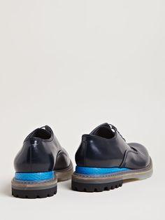 Lanvin Mens Snakeskin Panel Derby Shoes