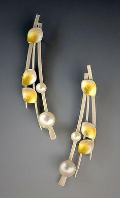 Pearl Leaf Earrings by Judith Neugebauer (Gold, Silver & Pearl Earrings) | Artful Home