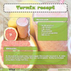 Egy finom grapefruit turmix receptje. Egy igazán kiváló turmix reggelire. #turmix Grapefruit, Minden, Smoothies, Bottle, Drinks, Health, Atc, Food, Meal