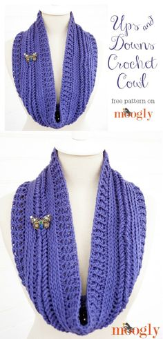 Ups and Downs Crochet Cowl - 15 Free Crochet Patterns for Trendy Winter Clothes | GleamItUp