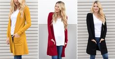 I'm loving the trend of the long cardis! They finish off a basic outfit perfectly! Only $22.99!