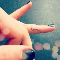 Little love tattoo on the finger - http://www.beautifultattooideas.com/little-love-tattoo-finger/