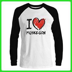 Idakoos - I love Muskegon chalk style - US Cities - Raglan Long Sleeve T-Shirt - Cities countries flags shirts (*Amazon Partner-Link)