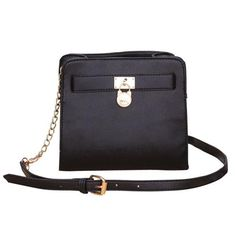 Michael Kors Hamilton Lock Medium Black Crossbody Bags Are High Quality And Cheap Price!