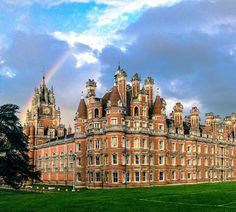 Welcome to Royal Holloway.  (NOT ABANDONED).  We are one of the UK's leading research-intensive universities, with 19 academic departments spanning the arts and humanities, sciences, social sciences, management and economics.  Founder's and rainbow. Photo taken by Will Chamberlin, Geography student