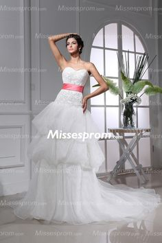 Funky Appliqued Sweetheart Wedding Dress With Red Sash And Chapel Train