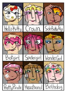 2015 Super Face Painting Menu Part 2 of 2 door PatchesTheClown