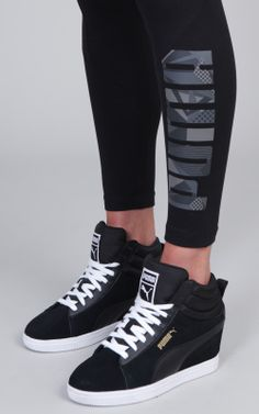 d9273f976a9 PUMA logo leggings paired with the PUMA Suede Classic sneaker wedge in  versatile black