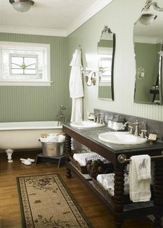 everything about this bathroom appeals to me...add a separate shower and it would be perfect! I wish I had the $$$ to totally redo my master bath this way!