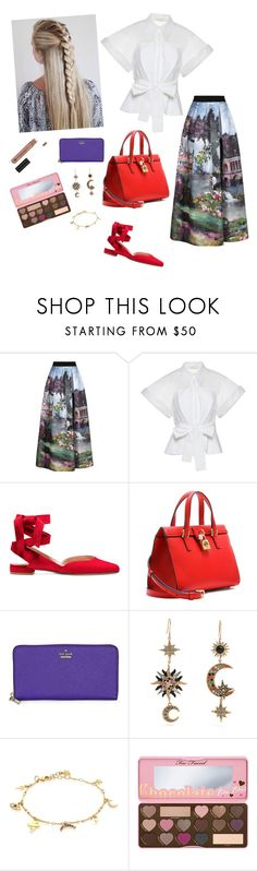 """""""Going with the flow."""" by bunnisexy ❤ liked on Polyvore featuring Alice + Olivia, Delpozo, Dolce&Gabbana, Kate Spade, Roberto Cavalli, IaM by Ileana Makri and Too Faced Cosmetics"""