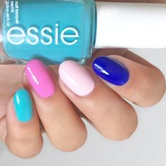 When you can't pick just one essie shade-- choose them all! Love this color combo using in the cabana, cascade cool, minimalistic and all access pass.