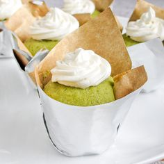 Mini matcha green tea cupcakes with buttery honeybuttercream