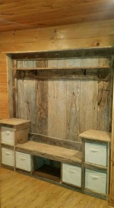 If you wish to give your living room an antique, stylish look then here is an amazing idea. making use of recycled pallet wood to make a cupboard is a cool idea.