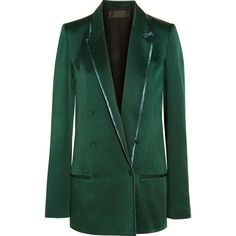 Haider Ackermann Double-breasted satin blazer ($685) ❤ liked on Polyvore featuring outerwear, jackets, blazers, emerald, blazer jacket, haider ackermann, green blazers, double-breasted blazer and haider ackermann jacket