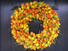Spring Wreath, Tulip Spring Wreath, 20 inch, Spring Decor, Easter Wreath, Housewarming Gift, Orange Tulip Wreath. $90.00, via Etsy.