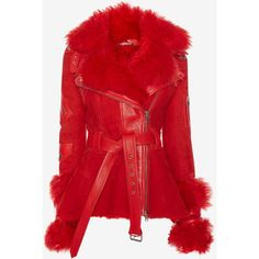Exploded Shearling Peplum Jacket ❤ liked on Polyvore featuring outerwear, jackets, red peplum jacket, sheep fur jacket, peplum jackets, red jacket and shearling jacket