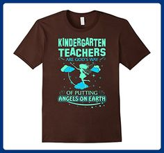 Mens Kindergarten Teachers Are Gods Angels On Earth Tshirt Small Brown - Careers professions shirts (*Amazon Partner-Link)