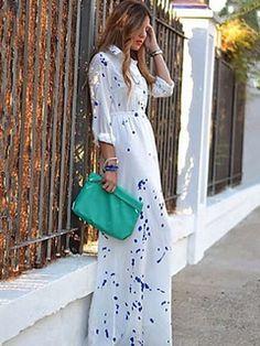 Womens Fashion Turntie Wave Point Leisure Maxi Dress white l Modest Dresses, Summer Dresses, Maxi Dresses, Summer Maxi, Summer 2016, Spring Summer, Vestidos Zara, Look Boho, Collar Dress