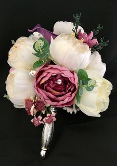 Peony mix silks in silver holder