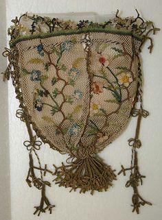 Silk 'kese' (purse) adorned with 'oya' lace. Turkey, 18th century.