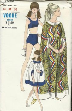 Vintage 1967 High Waisted Boy Shorts Bathing Suit & Cape Coverup Pattern Back Buttoned Two Piece Swimsuit 1960s Vogue 7052 Bust 34 UNCUT