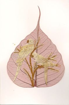 Parrots handmade leaf art Avian art  Not a print handmade with real leaves by museumshop, $9.99