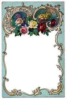 Victorian Rose Amber Clip Art | Victorian Clip Art – Beautiful Winter Scene + French Frame