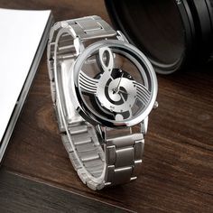 Treble Clef See-Through Stainless Steel Watch Swiss Army Watches, Treble Clef, Stainless Steel Watch, Music Notes, Fashion Watches, Luxury Branding, Watches For Men, Men's Watches, Woman Watches
