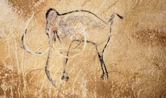 Aurignacian Man, Mammoth (c.30,000 BC), Chauvet Cave, Vallon-Pont-d'Arc, Ardèche, France Charcoal drawing and engraving on rock, length c.80cm