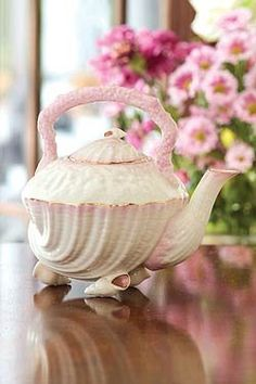 Beautiful Irish Belleek Tea kettle. China Neptune Archival Collection 7-inch Tea Kettle Gift Boxed