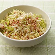 Summer Slaw @ Weight Watchers: shredded Napa cabbage, jicama, & radishes tossed w/ lime juice, rice vinegar, sesame oil, cumin, and salt.