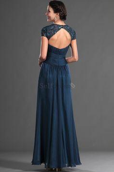Long Summer Square Dark Navy Art Silk Short Sleeves Pleated Misses Chiffon Mother Of The Bride Dress